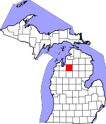 Map of Michigan showing Kalkaska County - Click on map for a greater detail.