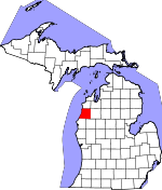 Map of Michigan showing Manistee County - Click on map for a greater detail.