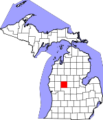 Map of Michigan showing Mecosta County - Click on map for a greater detail.