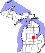 Map of Michigan showing Midland County - Click on map for a greater detail.