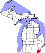 Map of Michigan showing Monroe County - Click on map for a greater detail.