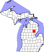 Map of Michigan showing Ogemaw County - Click on map for a greater detail.