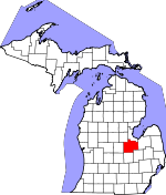 Map of Michigan showing Saginaw County - Click on map for a greater detail.