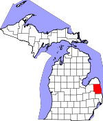Map of Michigan showing Sanilac County - Click on map for a greater detail.