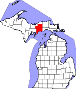 Map of Michigan showing Schoolcraft County - Click on map for a greater detail.