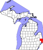 Map of Michigan showing St. Clair County - Click on map for a greater detail.