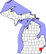 Map of Michigan showing Wayne County - Click on map for a greater detail.