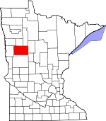 Map of Minnesota showing Becker County - Click on map for a greater detail.