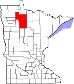 Map of Minnesota showing Beltrami County - Click on map for a greater detail.