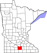 Map of Minnesota showing Blue Earth County - Click on map for a greater detail.