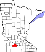 Map of Minnesota showing Brown County - Click on map for a greater detail.