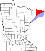 Map of Minnesota showing Cook County - Click on map for a greater detail.