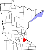 Map of Minnesota showing Dakota County - Click on map for a greater detail.