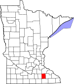 Map of Minnesota showing Dodge County - Click on map for a greater detail.