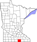 Map of Minnesota showing Freeborn County - Click on map for a greater detail.