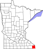 Map of Minnesota showing Houston County - Click on map for a greater detail.