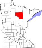 Map of Minnesota showing Itasca County - Click on map for a greater detail.