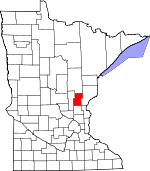 Map of Minnesota showing Kanabec County - Click on map for a greater detail.
