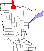 Map of Minnesota showing Lake of the Woods County - Click on map for a greater detail.