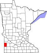 Map of Minnesota showing Lincoln County - Click on map for a greater detail.