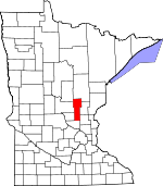 Map of Minnesota showing Mille Lacs County - Click on map for a greater detail.