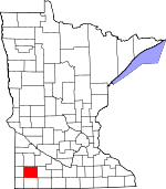 Map of Minnesota showing Murray County - Click on map for a greater detail.