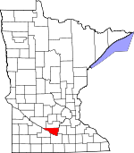 Map of Minnesota showing Nicollet County - Click on map for a greater detail.