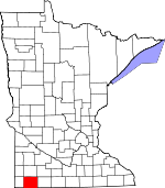 Map of Minnesota showing Nobles County - Click on map for a greater detail.