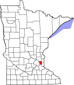 Map of Minnesota showing Ramsey County - Click on map for a greater detail.