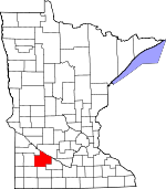 Map of Minnesota showing Redwood County - Click on map for a greater detail.