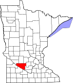 Map of Minnesota showing Renville County - Click on map for a greater detail.