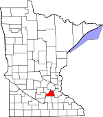Map of Minnesota showing Scott County - Click on map for a greater detail.