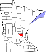 Map of Minnesota showing Sherburne County - Click on map for a greater detail.