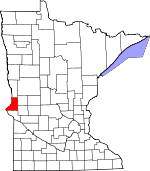 Map of Minnesota showing Traverse County - Click on map for a greater detail.