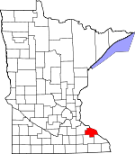 Map of Minnesota showing Wabasha County - Click on map for a greater detail.