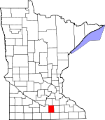 Map of Minnesota showing Waseca County - Click on map for a greater detail.