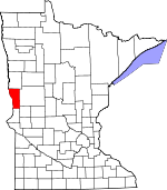 Map of Minnesota showing Wilkin County - Click on map for a greater detail.