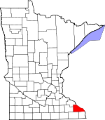 Map of Minnesota showing Winona County - Click on map for a greater detail.
