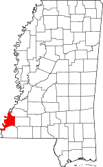 Map of Mississippi showing Adams County - Click on map for a greater detail.