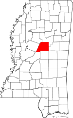 Map of Mississippi showing Attala County - Click on map for a greater detail.