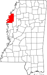 Map of Mississippi showing Bolivar County - Click on map for a greater detail.