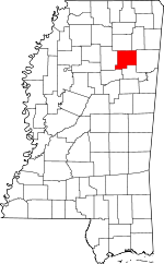 Map of Mississippi showing Chickasaw County - Click on map for a greater detail.