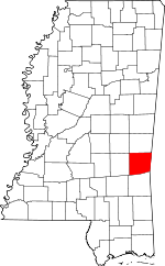 Map of Mississippi showing Clarke County - Click on map for a greater detail.