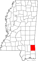 Map of Mississippi showing Greene County - Click on map for a greater detail.