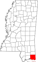 Map of Mississippi showing Jackson County - Click on map for a greater detail.