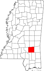 Map of Mississippi showing Jones County - Click on map for a greater detail.
