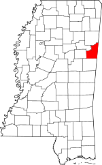 Map of Mississippi showing Lowndes County - Click on map for a greater detail.
