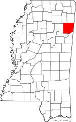 Map of Mississippi showing Monroe County - Click on map for a greater detail.