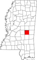 Map of Mississippi showing Newton County - Click on map for a greater detail.