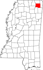 Map of Mississippi showing Prentiss County - Click on map for a greater detail.